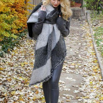 ONETOW Thick Warm Wool Pashmina Cashmere Scarf