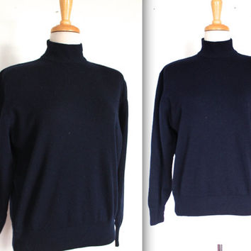 Vintage Navy Blue Sweater // Dark Navy Wool High End Turtleneck // Pin Up Sweater Girl