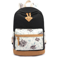 Black Lightweight Canvas Laptop Backpack Cute School Bag
