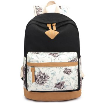 Black Lightweight Canvas Laptop College Backpack Cute School Bag