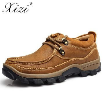 XIZI Brand Men Casual Shoes Men 100% Genuine Leather loafers Shoes slip on shoe Handmade High Quality Male Casual boat Shoe