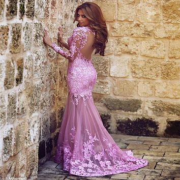 Long Sleeves Muslim Evening Dresses 2017 Mermaid Appliques Lace Sexy Illusion Back Dubai Moroccan Abaya Evening Gown Prom Dress