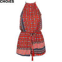 Women 2016 Summer Style Folk Prints Romper Red/Blue Tribal Aztec Sleeveless Halter Playsuit Jumpsuits