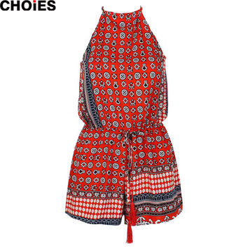 Women 2016 Summer Style Folk Prints Romper Red Blue Tribal Aztec Sleeveless Halter Playsuit Jumpsuits