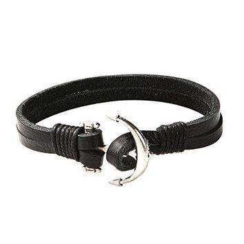 BodyJ4You Bracelet Men's Leather Bangle Cord Black Anchor Nautical