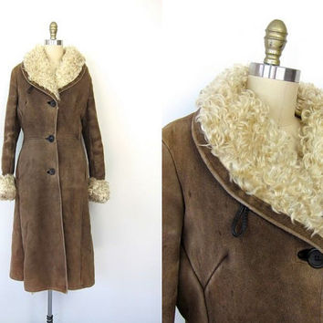 Long Suede Lambskin Coat Brown Leather Mongolian Fur Lined Coat 1970s Shearling Princess Coat Scotland Lamb Skin Winter Coat Womens Small