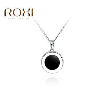 2016 ROXI Brand Vintage Necklace For Women Elegant Round Black Pendant Charming Women White Gold Color Necklace Women's Jewelry