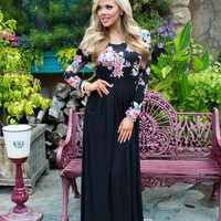 Till I Forget You Black and Floral Maxi
