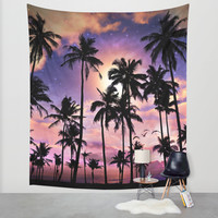 Smell the Sea Feel the Sky (Palm Tree Sunset) Wall Tapestry by Soaring Anchor Designs
