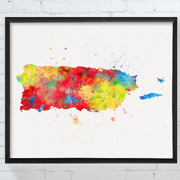 Puerto Rico Art, Puerto Rico Poster, Puerto Rico Map, Puerto Rico Wall Art, Watercolor Map, Travel Map, Map Poster, Dorm Decor, Framed Art