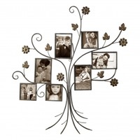 "Adeco Decorative Bronze-Color Iron Tree Wall Hanging Collage Picture Photo Frame, 7 Openings, 4x4"", 4x6"""