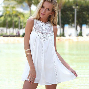 White Sleeveless Lace Panel Dress