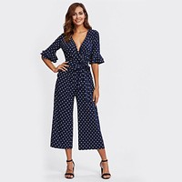 NAVY DOTS ANKLE PANTS JUMPSUIT