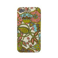 Melon & Blue Floral Iphone 4 Case-mate Cases from Zazzle.com