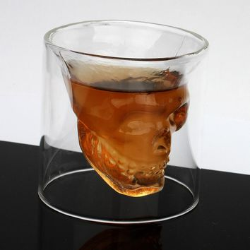 Christmas Halloween Gifts Doomed Skull Glass Wine mug Beer Glasses Shot Crystal Skull Head Vodka Shot Wine glasses Travel Kit