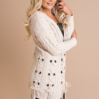 Come My Way Lace-Up Cardigan (Beige)