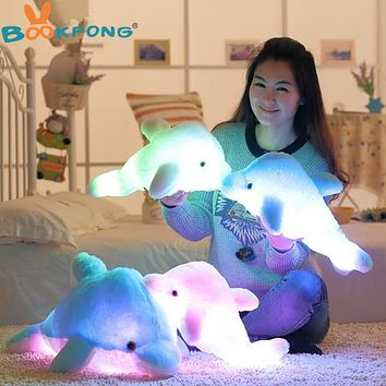 BOOKFONG 45cm Colorful Dolphin Plush Doll Toy Luminous Plush Stuffed Flashing Cushion Pillow With LED Light Party Birthday Gift