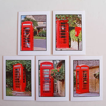 British Red Phonebooth Photo Greeting Cards, Set of 5 Eco-Friendly Notecards