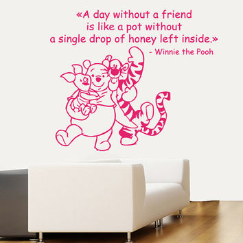 Wall Decals Vinyl Decal Winnie the Pooh Quote A Day Without A Friend ... Cartoon Home Vinyl Decal Sticker Kids Nursery Baby Room Decor kk90