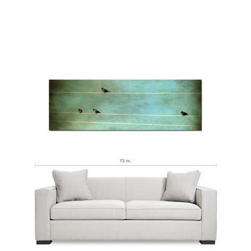 Gothic Birds on a Wire Fine Art Photography Panoramic 20 x 60 x 1.25 inch Premium Canvas Gallery Wrap