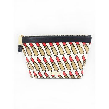Red Lipstick Canvas Large Cosmetic Bag