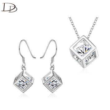 DODO Fashion Hollow Cube Drop Earrings &  Necklace Sets For Women AAA Cubic Zircon Silver Plated Jewelry Sets Party Gifts JS024