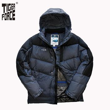 Men Fashion Down Jacket 70% White Duck Down Winter Warm Hooded Down Coat Patchwork Rib Cuff Free Shipping D-473