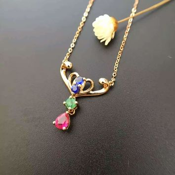 Starfield Women's 18K Gold Ruby/Sapphire/Emerald & Diamond Inlaid Pendant Necklace