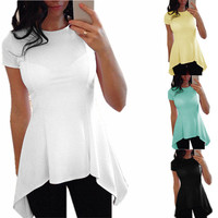 New Sexy Women Ruffle Blouse Irregular Hem Short Sleeve O Neck Peplum Waist Slim Fit Tops Casual Loose Shirts Blouses