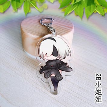 NieR Automata 2B Acrylic keychain Collection Natsume's Book of Friends cute funny Keyring pendant Jewelry Chaveiro Llaveros gift