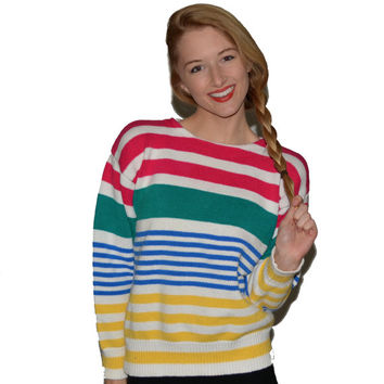 Vintage Striped J.G. Hook Sweater Womens Small Nautical Sweater Colorful Hipster Pullover