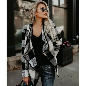 Fashion Women Long Sleeve Plaid Cardigan Lapel Collar Casual Irregular Jacket Blazer Coat Outwear