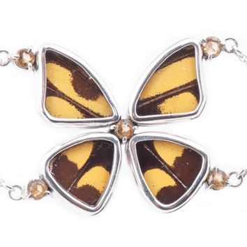 Silver butterfly bracelet with ethiopian opal birthstone - Yellow  Papilio Thoas
