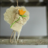 Spring Decoration - One Little White Angel Whit A Yellow Fwoer   - Needle Felted Angel