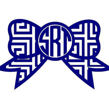 "5"" Bow Monogram with Greek Key Cutout Design Sticker Decal"