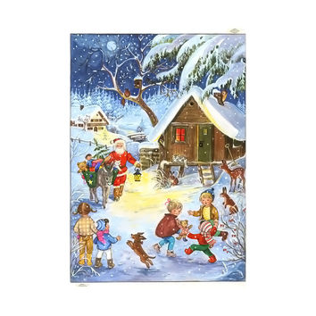 Sellmer Advent Christmas Santa with Donkey Calendar Card 12H x 8W x .1D
