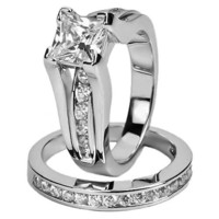 Women's Stainless Steel Princess AAA CZ Wedding Ring Set Size 5,6,7,8,9,10,11