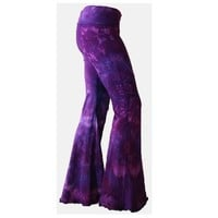 Purple Tie Dyed Yoga Flares sizes S - L tye dyed bell bottom pants