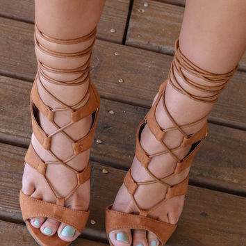 Midnight Memories Tan Strappy Caged Heels