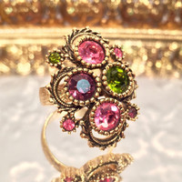 Vintage Sarah Coventry Austrian Lites Adjustable Gold Ring 1970s Pink Purple Green Gemstones