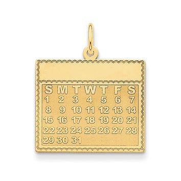 14k Yellow Gold Sunday Start Perpetual Calendar Charm or Pendant, 22mm