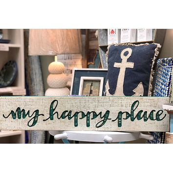 My Happy Place | Vintage Carved Sign Aqua Letters - 26-in