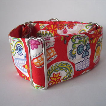 Day of the Dead Martingale Collar, Sugar Skulls, Red, Calaveras, Skull, Greyhound Collar, Dog Collar