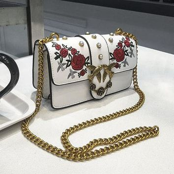 Embroidered Flower Crossbody Bag - Embroidered Handbag with Chain