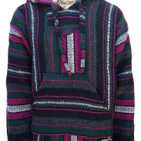 Baja Hoodie Mexican Poncho Pullover - Fuschia Dark Green Gray White (Large)