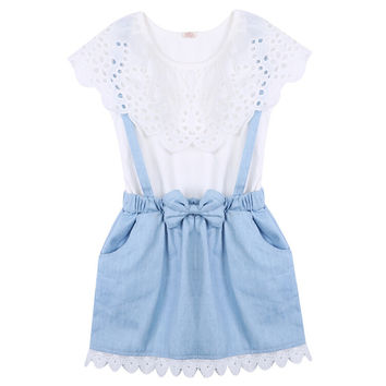 Girls Summer clothes Dresses New Fashion Girls cowboy Short sleeve Bow cotton baby kids girls Ball Cute dress 2 3 4 5 6 7 Years