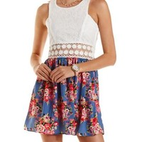 Blue Combo Lace & Floral Print Skater Dress by Charlotte Russe