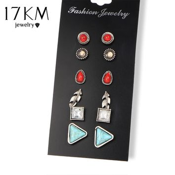 17KM 6 pairs/set Blue And Red Stone Leaves Flower Crystal Stud Earrings For Women Fashion Simple Bijoux Pendientes Jewelry Gift