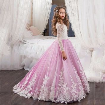 DF141 Pink Flower Girl Dress with Long Train  baby Pageant Gowns Holy Communion Dresses for Girls Birthday Party Dress