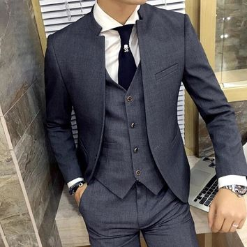 2017 Brand New Grey Wedding Men Tuxedos Stand Collar Suit Men's Business Office Slim Fit Good Quality Male Suits 3 Pieces Sets